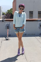 violet Funky Elegance boots - light blue Zara sweater