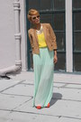 Aquamarine-pleated-zara-pants-carrot-orange-jessica-simpson-shoes