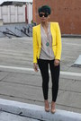 Yellow-zara-blazer-black-zara-pants-camel-charles-david-pumps