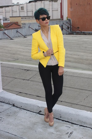 camel Charles David pumps - yellow Zara blazer - black Zara pants