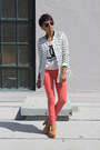 Salmon-hudson-jeans-cream-romwe-top-bronze-jefferey-campbell-sandals