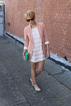 nude boyfriend H&M blazer - cream fringe arknco dress