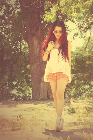 pink chiffon Topshop shoes - peach ruffled Forever 21 shorts - vintage Ray Ban s