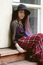 Leather-vintage-jacket-plaid-forever-21-dress-nastygal-hat