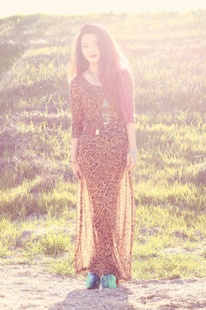 bronze leopard print Mink Pink dress - amethyst tie dye Jeffrey Campbell shoes