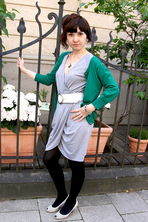 heather gray jersey Perseiden dress - dark green warehouse cardigan - sterling s