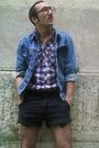 Blue-levis-jacket-purple-h-m-shirt-black-shorts