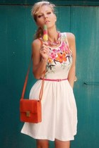 orange bag - white dress