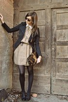 light pink dress - black jacket - brown bag - black heels