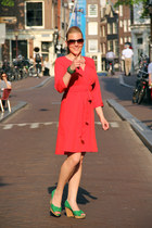 salmon dress - dark brown sunglasses - chartreuse heels
