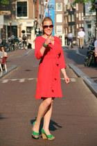 salmon dress - dark brown sunglasses - chartreuse heels