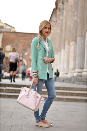 sky blue jacket - periwinkle jeans - ivory bag - silver sandals - ivory top