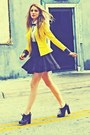 Yellow-jacket-black-skirt-white-top-black-heels