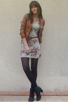 brown NYC jacket - silver Bershka dress