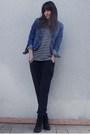 Gray-silencenoise-black-zara-t-shirt-blue-fox-jacket-black-uo-boots