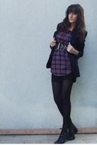 Forever 21 shirt - Zara blazer - Stradivarius skirt - vintage boots - H&M belt