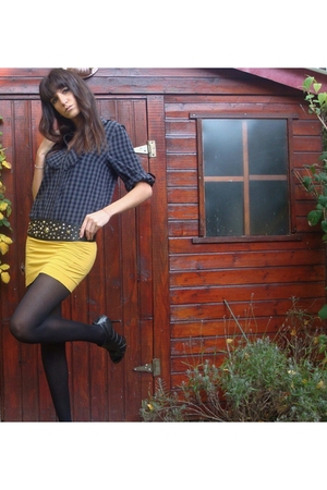 H&M shirt - DIY skirt - Paris belt - Primark tights - new york shoes