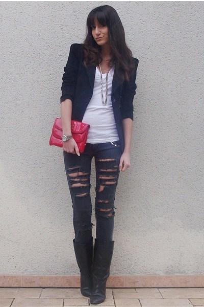 black DIY jeans - white aa t-shirt - black Zara blazer - red Marc by Marc Jacobs