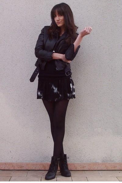black Zara jacket - black H&M Kids dress - black Galeries Lafayette sweater - bl