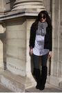 Black-h-m-jacket-silver-zara-t-shirt-black-vintage-boots