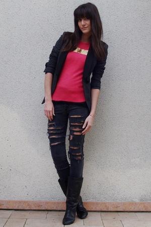 H&M sweater - Zara blazer - DIY jeans - vintage boots