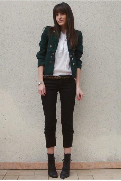 black vintage jeans - black vintage boots - green vintage blazer