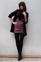 H&M sweater - H&M belt - f21 coat - aa leggings - vintage shoes