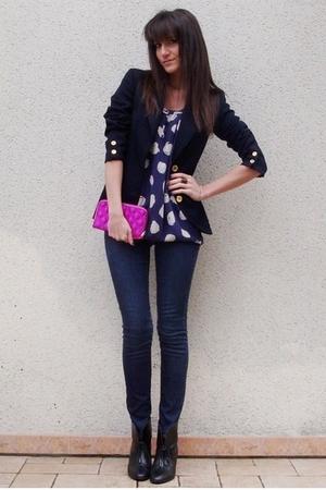 blue Bel Air blouse - blue H&M jeans - blue Celine Vintage blazer - black H&M bo