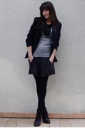 Isabel Marant skirt - silver Zara t-shirt - black Zara blazer - black COS neckla