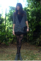 gray cardigan Urban Outfitters sweater - gray boots new york shoes