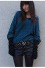Green-numph-sweater-black-paris-belt-black-h-m-shorts-black-uo-boots