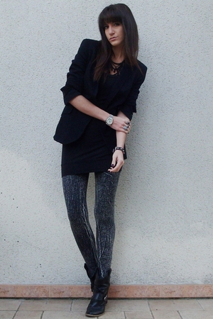 H&M leggings - Zara blazer - new look dress - texto boots