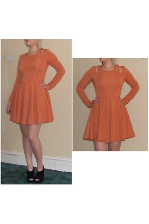 orange skater Eva & Lola dress - black velvet new look heels