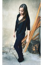 black Forever 21 cardigan - navy jeans - black shoes