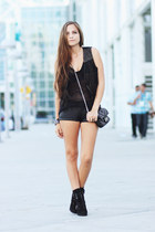 black lace up heels Steve Madden boots - black mesh shirt - black leather Foreve