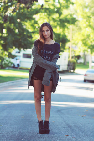 dark khaki jacket - black shorts - charcoal gray glamour kills t-shirt