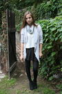 White-roxy-shirt-gray-anthropologie-cardigan-black-thrifted-skirt-black-fo