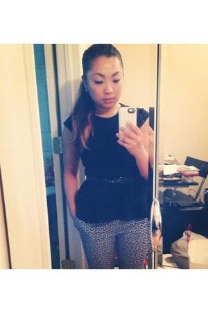black Zara top - blue print H&M pants - black Zara belt