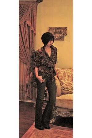 blouse - Bluenotes jeans - liz claiborne boots - belt
