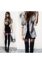 black shirt - black tights - black shoes - gray blazer