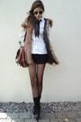 Black-tights-black-shoes-black-socks-brown-bag-brown-vest-white-blouse
