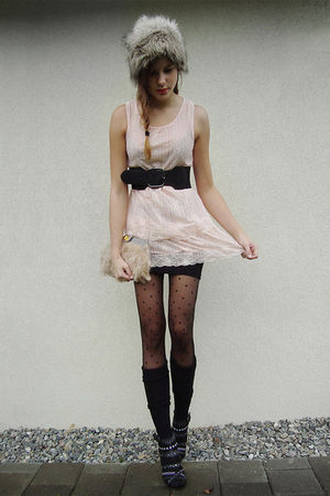 black shoes - pink Wholesale-Dress dress - gray hat - black tights - black skirt