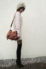 Black-socks-black-tights-black-shoes-sweater-brown-bag-gray-hat