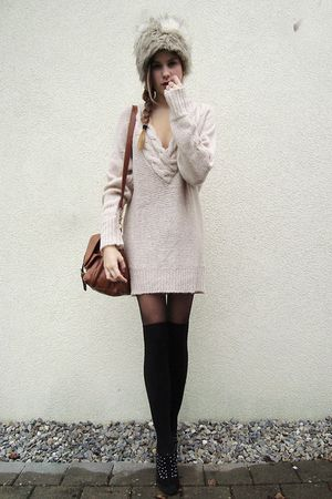 brown bag - black shoes - gray fur hat - sweater - black tights - black socks