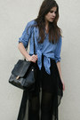 Black-maxi-skirt-blue-denim-h-m-shirt-black-bag
