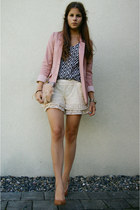 cream lace shorts