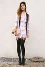 Light-pink-dress-periwinkle-blazer-black-suspender-tights-light-pink-feath