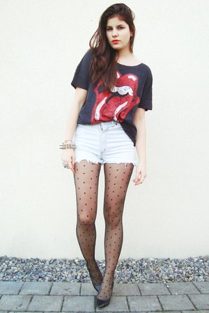 vintage jeans shirt - rollingstones shirt - black dotted tights