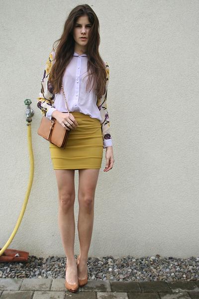 mustard skirt - periwinkle floral shirt