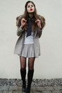 Ivory-shirt-beige-coat-beige-skirt-black-tights-black-socks-black-shoe